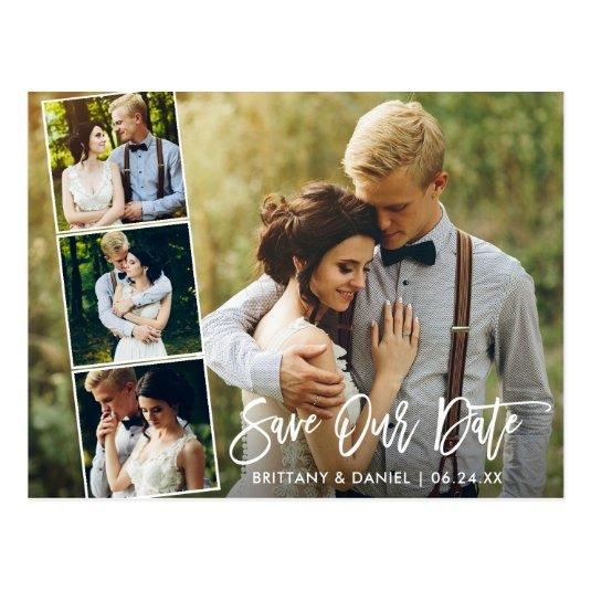 Modern Brush Script Couple 4 Photo Save Our Date