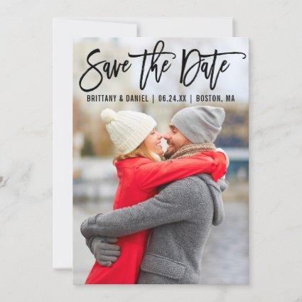 Modern Brush Script Couple Photo B Save The Date