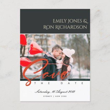 MODERN BRUSH SCRIPT COUPLE PHOTO RED SAVE THE DATE ANNOUNCEMENT