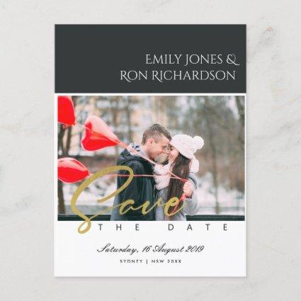 MODERN BRUSH SCRIPT COUPLE PHOTO SAVE THE DATE ANNOUNCEMENT