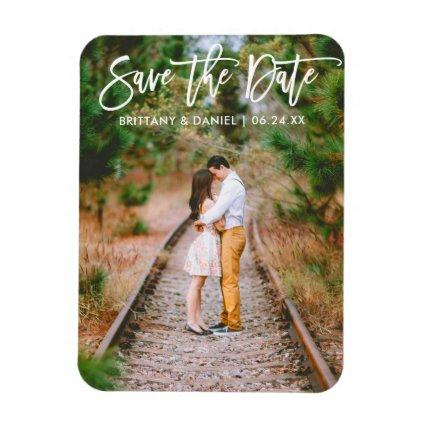 Modern Brush Script Couple Photo Save The Date Magnet