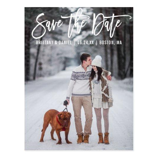 Modern Brush Script Couple Photo Save The Date Cards