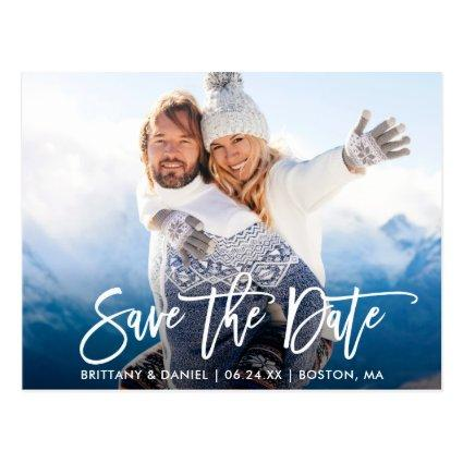 Modern Brush Script Couple Photo Save The Date W