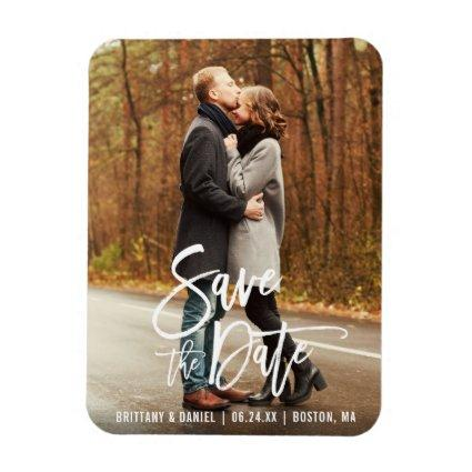 Modern Brush Script Engagement Save The Date Magnets