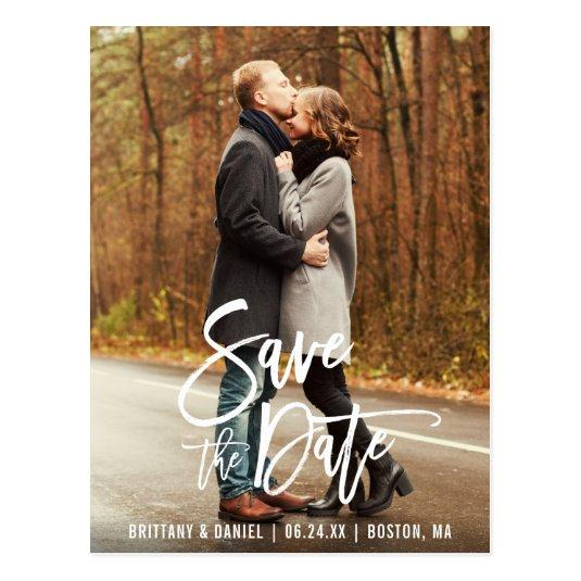 Modern Brush Script Engagement Save The Date Photo