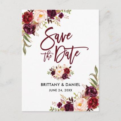 Modern Brush Script Floral Burgundy Save the Date Announcement