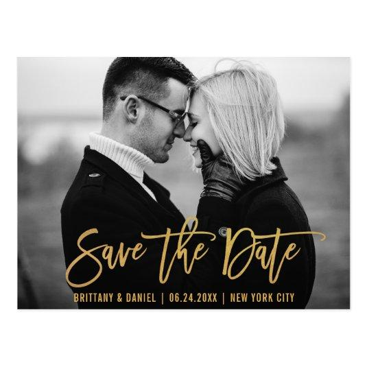 Modern Brush Script Gold Save The Date Photo