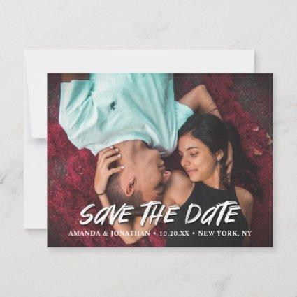 Modern Brush Script Horizontal Photo Save The Date Announcement