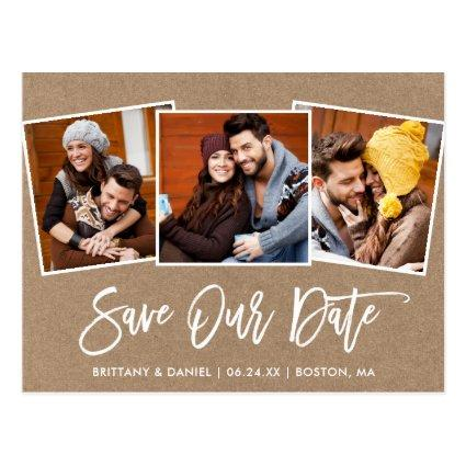 Modern Brush Script Kraft Save Our Date 3 Photo