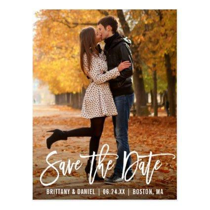 Modern Brush Script Photo Save The Date Cards