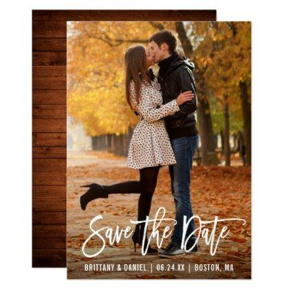 Modern Brush Script Photo Wood Save The Date Card