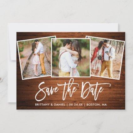 Modern Brush Script Rustic Wood 3 Photo Collage Save The Date