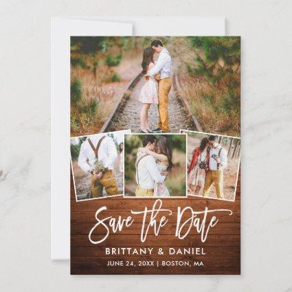Modern Brush Script Rustic Wood 4 Photo Couple Save The Date