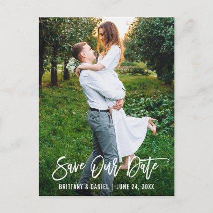 Modern Brush Script Save Our Date Couple Photo
