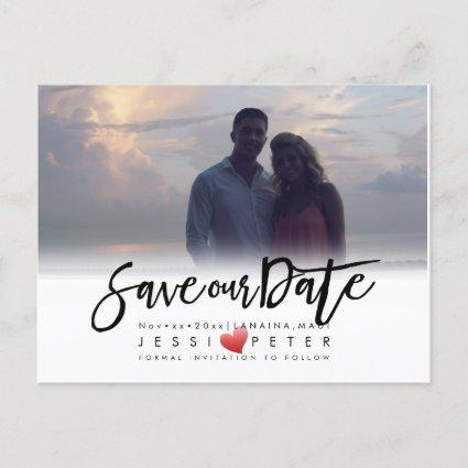 Modern Brush Script Save our Date, Heart Announcement