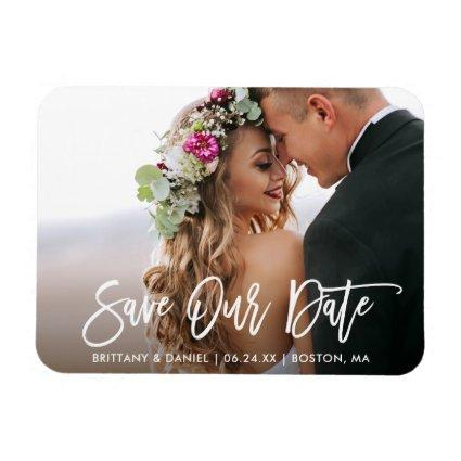 Modern Brush Script Save Our Date Magnets