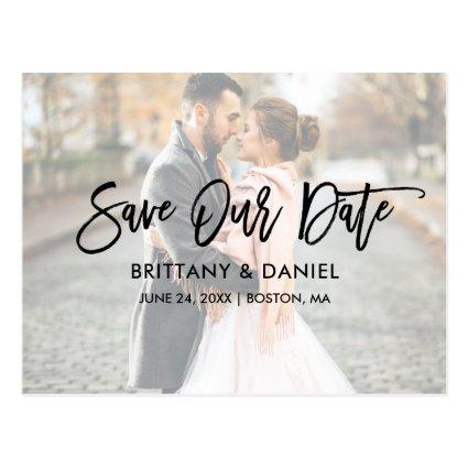 Modern Brush Script Save Our Date Photo Overlay