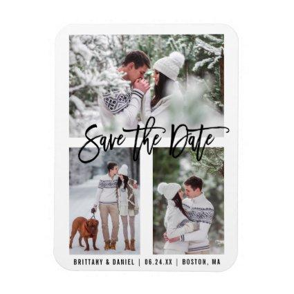 Modern Brush Script Save The Date 3 Magnets