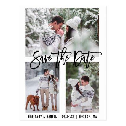 Modern Brush Script Save The Date 3 Photo Cards
