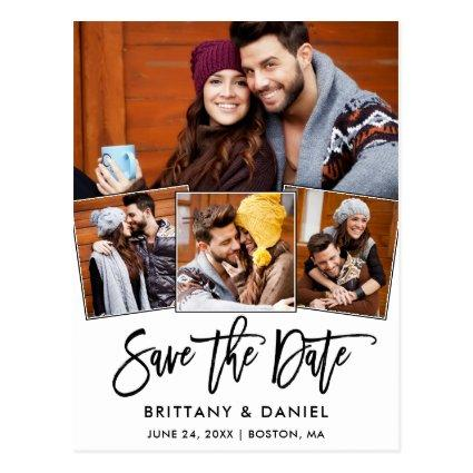 Modern Brush Script Save The Date 4 Photo Couple