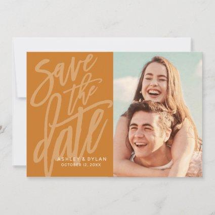 Modern Brush Script Save the Date Announcement