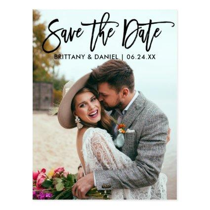 Modern Brush Script  Save The Date Couple Photo B