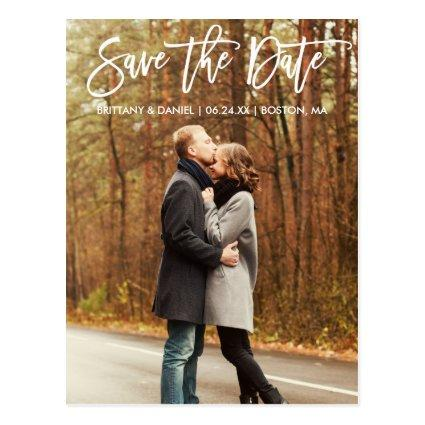 Modern Brush Script Save The Date Couple Photo