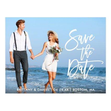 Modern Brush Script Save The Date Couple Photo WS