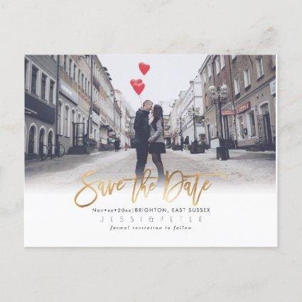 Modern Brush Script Save the Date, Faux Gold Announcement
