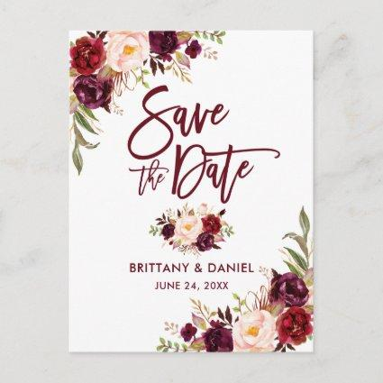 Modern Brush Script  Save the Date Floral Burgundy Announcement
