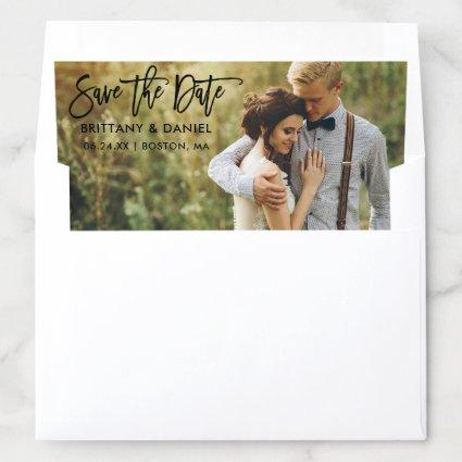 Modern Brush Script Save The Date Photo B Envelope Liner