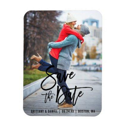 Modern Brush Script Save The Date Photo Engagement Magnet