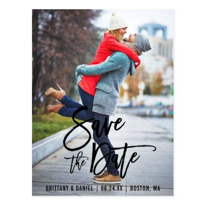 Modern Brush Script Save The Date Photo Engagement