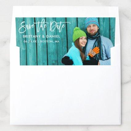 Modern Brush Script Save The Date Photo Envelope Liner