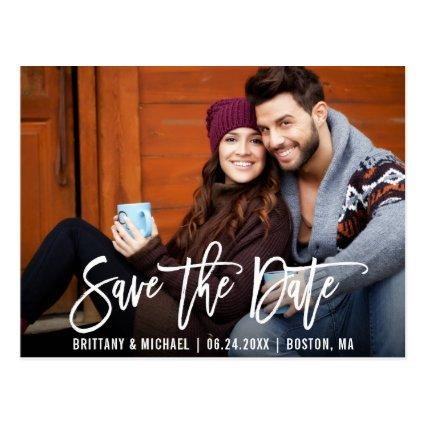 Modern Brush Script Save The Date Photo