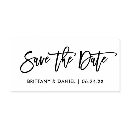 Modern Brush Script Save The Date Rubber Stamp
