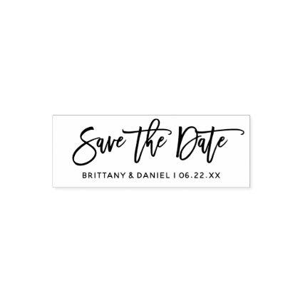 Modern Brush Script Save The Date Self-inking Stamp