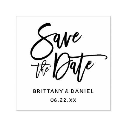 Modern Brush Script Save The Date Square Self-inking Stamp