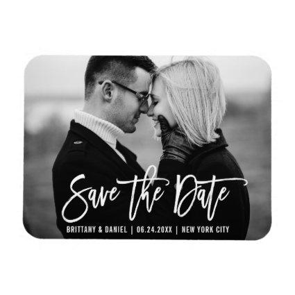 Modern Brush Script Trendy Save The Date Magnets