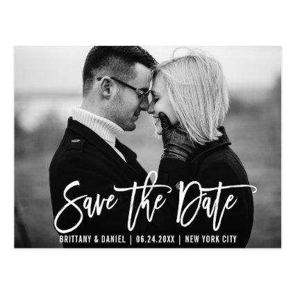 Modern Brush Script Trendy Save The Date Photo