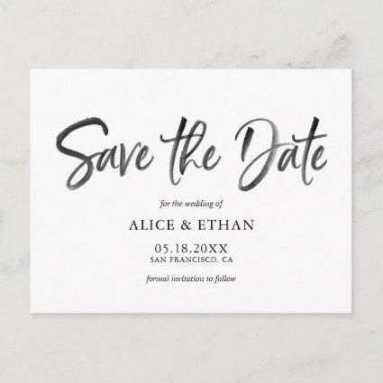 Modern Brush Script Wedding Save The Date Announcement