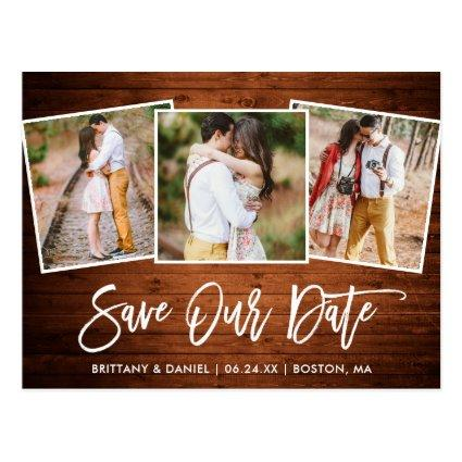 Modern Brush Script Wood Save Our Date 3 Photo