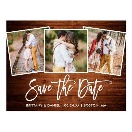 Modern Brush Script Wood Save The Date 3 Photo