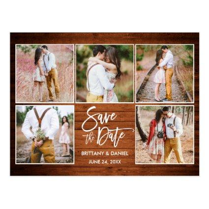 Modern Brush Script Wood Save The Date 5 Photo