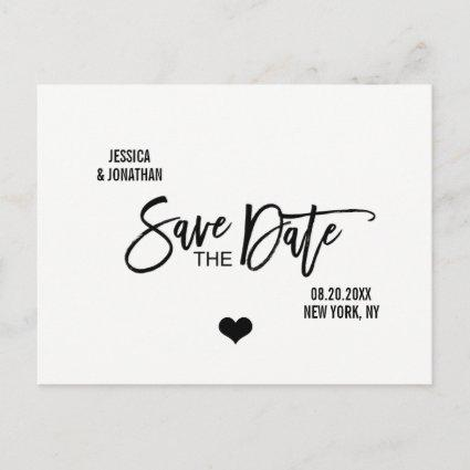 Modern Brush White Black Wedding SAVE THE DATE Announcement