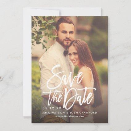 Modern Brushed Script Wedding Photo Blush Pink Save The Date