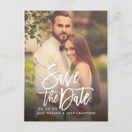 Modern Brushed Script Wedding Photo Save the Date Announcement