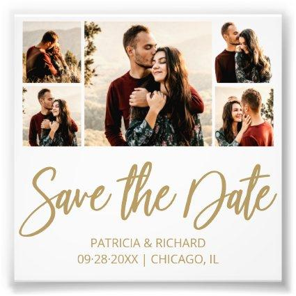 Modern Budget Wedding Save The Date Photo Collage