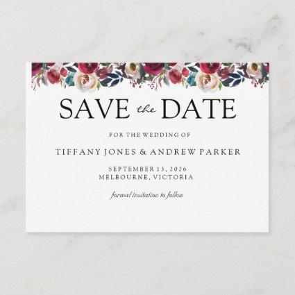 Modern burgundy Floral save the date wedding