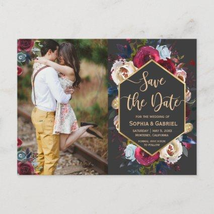 Modern Burgundy Navy Floral on Grey Save the Date Announcement